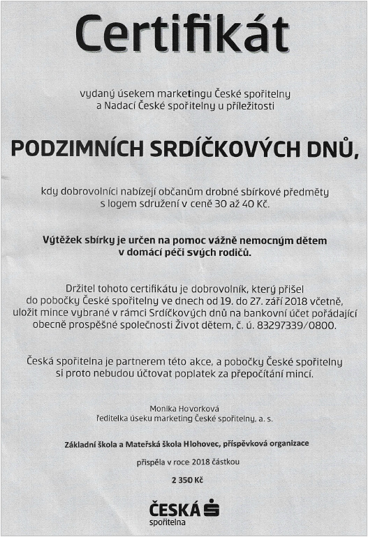 Certifikát Podzimních srdíčkových dnů