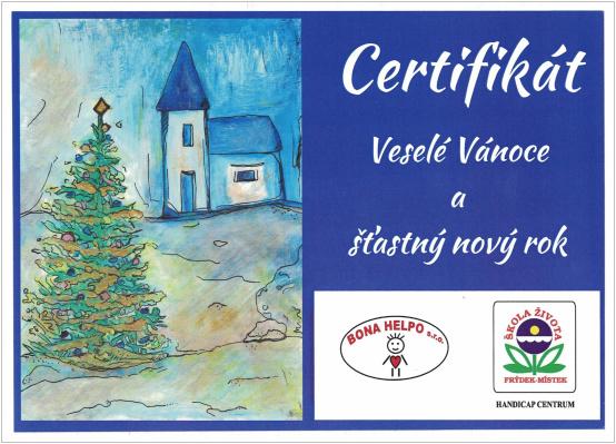 Bona help - Certifikát Veselé Vánoce a šťastný nový rok
