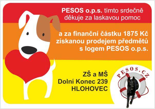 Pesos o.p.s. - poděkování za 1 875 Kč